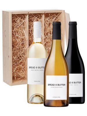 Bread & Butter Sauvignon Blanc, Pinot Noir en Chardonnay in houten kist