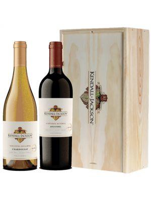 Kendall Jackson Vintners Reserve Chardonnay en Zinfandel in houten kist