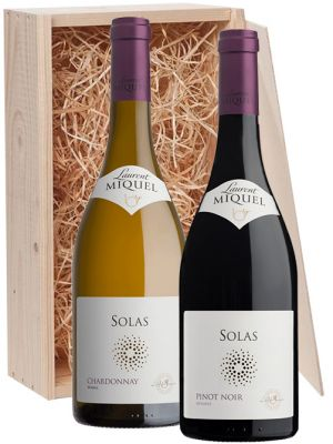 Laurent Miquel Solas Chardonnay en Pinot Noir in houten kist