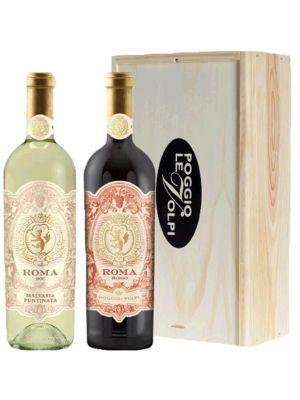 Poggio le Volpi Roma Bianco en Rosso in houten kist