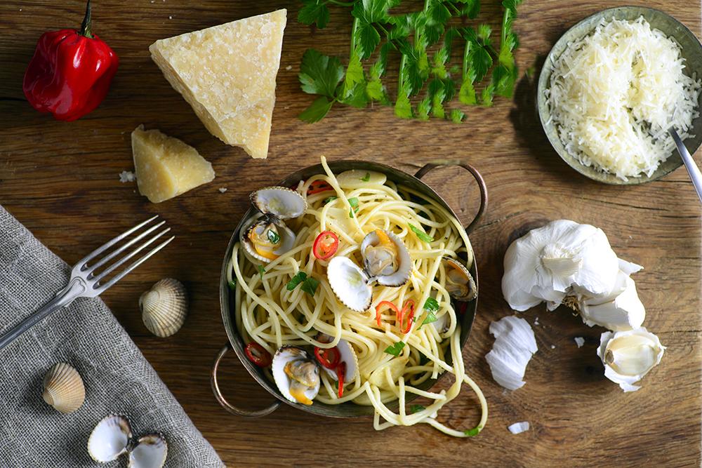 Muscadet LaCheteau met kokkels en pasta